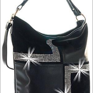Four Square Design Hobo Handbag